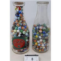 2 Vintage Milk Bottles Full Of Vintage Marbles
