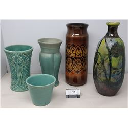 5 Assorted Pieces Of Mid Century Modern Pottery