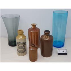Assorted Glass Vintage Ink Bottles And Vancouver Ginger Beer