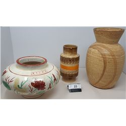 3 Pieces Assorted Mid Century Pottery, 1 Asian Piece