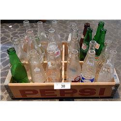 Original Pepsi Cola Crate With 24 Vintage Pop Bottles