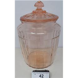 Vintage Depression Glass Cookie Jar With Lid