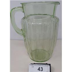 Vintage Uranium Milk Glass Water Pitcher