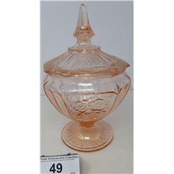 Vintage Pink Depression Glass Covered Bowl