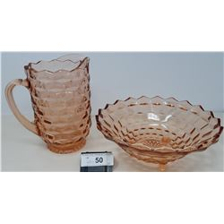 2 Large Pieces Of Pink Depression Glass