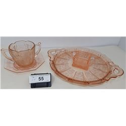 4 Pieces Of Pink Depression Glass Including Tray