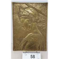 Vintage Brass Plaque Of Woman