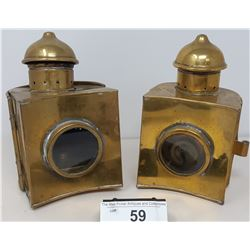 Pair Of Vintage Ship Lanterns With Original Burners