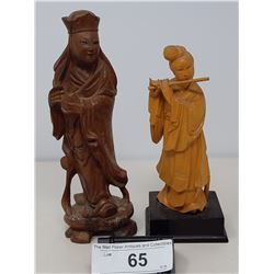 2 Hand Carved Asian Figurines Vintage
