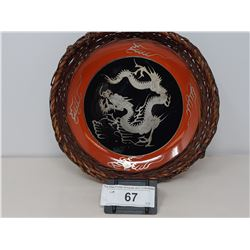 Asian Bowl With Bamboo Surround Picturing Dragon