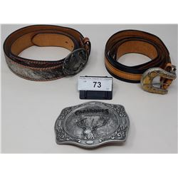 3 Western Cowbot Belts With Buckles