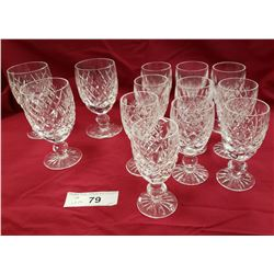 13 Signed Waterford Crystal Glasses
