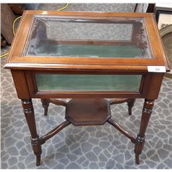 Rare Late Victorian Bevelled Glass Walnut Standing Display Case