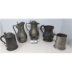 Collection Of 5 Pieces Of Early Pewter