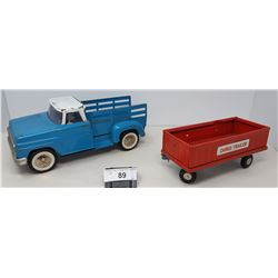 Vintage Tonka Pickup Truck And Toy Cargo Trailer