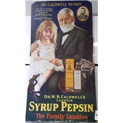 Rare Vintage Cardboard Advertising Sign Syrup Pepsin Sign