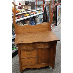 Completely Restored Bow Front Canadian Oak Washstand With Original Harp