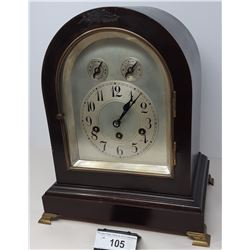 Vintage Dome Top Mantle Clock With Chime Serviced With Key, Bevelled Glass Front