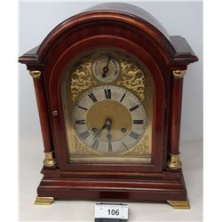 Ornate Embossed Front Early Mantle Clock With Bevelled Face Mahogany, Restored And Serviced Has Key