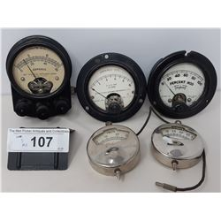 3 Bakelite Voltage Gauges And 2 Chrome Gauges