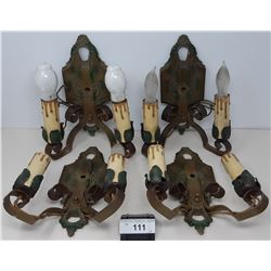 4 Art Deco Wall Sconces Matching