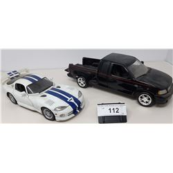 Pair Of Die Cast Ford Truck, Dodge Viper