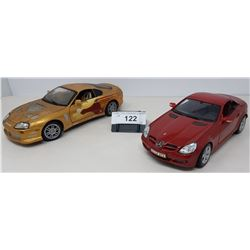 Pair Of Die Cast, Mercedes Benz Slk, 1993 Toyota Supra