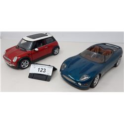 Pair Of Die Cast, Jaguar Xk180, Mini Cooper