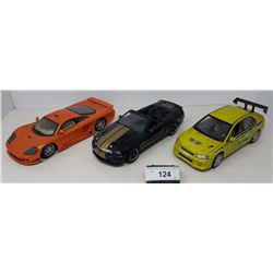 3 Die Cast Cars, 2003 Shelby Convertible, Saleen S7, Mitsubishi Evolution 7