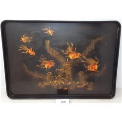 Decorative Tray Depicting Gold Fish, Vintage