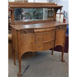 Completely Restored Fabulous Canadiana Sideboard Oak With Carved Lion Heads And Carved Lion Feet
