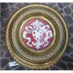 Heavily Carved Round Brass Plate Holder With Spanish Plate Inserted