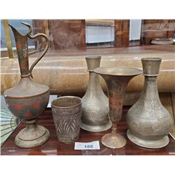 5 Early Pieces Of Indian Carved Brass