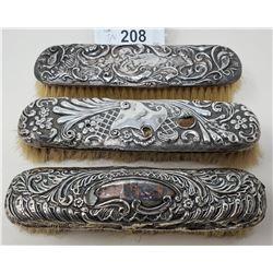 3 Ornate Sterling Silver Brushes