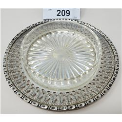Sterling Silver Plate With Glass Top