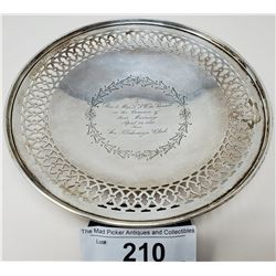 Sterling Silver Serving Dish Engraved
