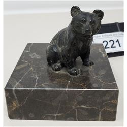 Miniature Bronze Casting Of A Bear Mounted On Marble Base