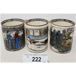 3 Victorian Coffee Mugs Highly Decorated By Adams