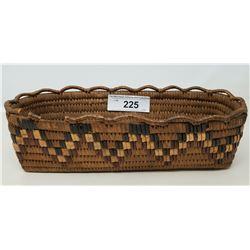 Hand Woven Vintage Salish Basket With Minor Edge Damage