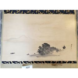 Early Chinese Scroll With Painted Scene Mounted On Ivory Roller In Original Box