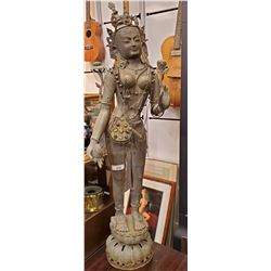 Vintage Bronze Thai Statue With Decorative Jewelry
