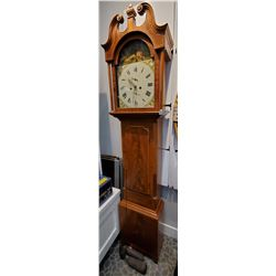 1830S Rose Wood Tall Case Grandfather Clock In Original Working Condition