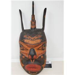 West Coast Unusual Vintage Hand Carved Native Mask