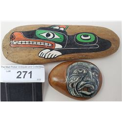 Kwakiutl Wolf By Mary Cameron And A Painted Rock By Mary Cameron