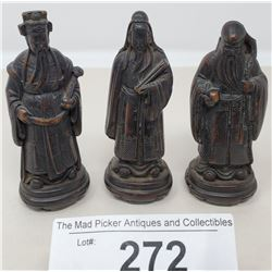 3 Early Hand Carved Asian Priests