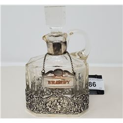 Spectacular Hand Etched Brandy Decanter Overlaid In Sterling Silver With Old Repair Under Sterling B