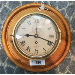 Vintage Brass Early Ships Clock Mounted On Wood Panel By Smith Empire