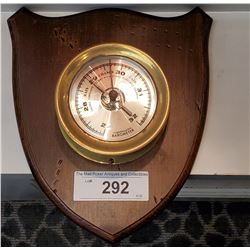 Compensated Brass Barometer On Wooden Plaque