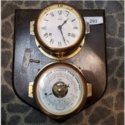 Matched Ships Clock And Barometer Mounted On Wood Plaque With Key