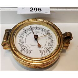 Signed Early Brass Captains Choice Weather Barometer In Working Condition